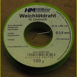100g Elektronik - Lötzinn 0,8 mm mit Flussmittel