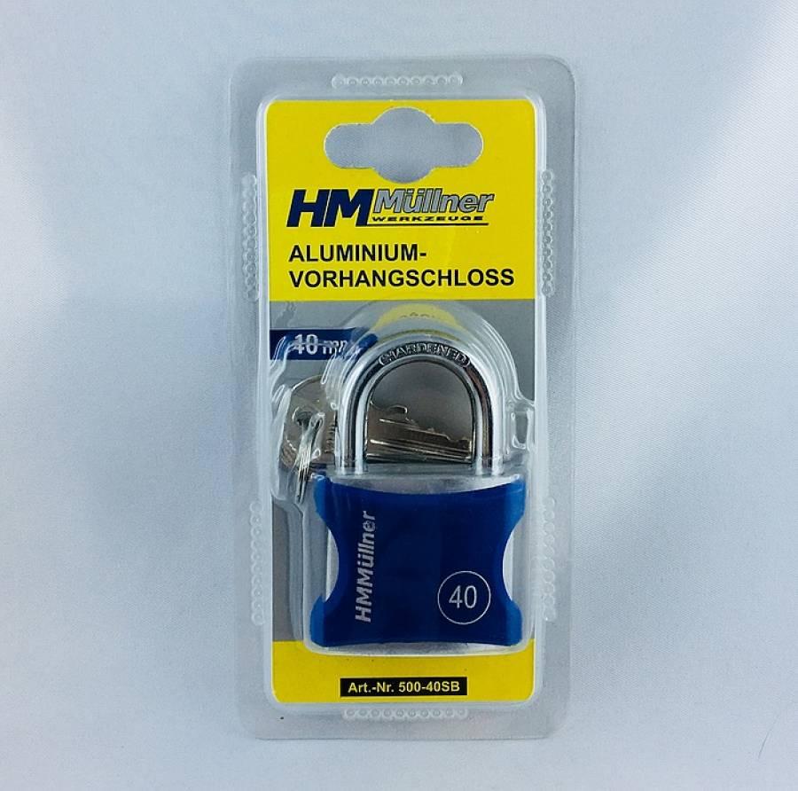 Vorhangschloss 40 mm Aluminium Schloss mit Schlüssel HM 500-40SB