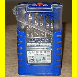 heller 287739 HSS-G Super Stahlbohrer Set 19 - tlg von 1 bis 10 mm in 0,5mm Schritten