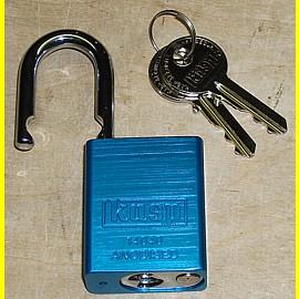 Aluminium - Vorhängeschloss blau eloxiert - Breite 38 mm - Bügel 6,3 mm