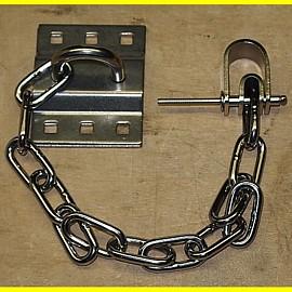 Sicherheitskette - Anhängekette für Vorhangschloss mit Öse und Wandhalterung
