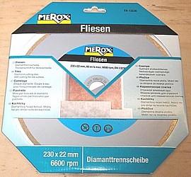 Merox Diamanttrennscheibe 230 x 22 mm Trockenschnitt für Fliesen mit Winkelschleifer