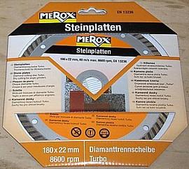 Merox Diamanttrennscheibe Turbo 180 x 22 mm für Steinplatten