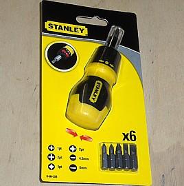 Stanley 0-66-358 Schraubendreher kurz mit Ratsche + 6 Bits